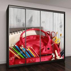 """Шкаф купе с фотопечатью """"рюкзак и школьные принадлежности на фоне дерева"""""""