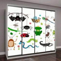 """Шкаф купе с фотопечатью """"Набор мультяшных насекомых и рептилий"""""""