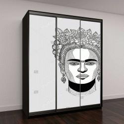 """Шкаф купе с фотопечатью """"векторная иллюстрация, женщина с венком"""""""