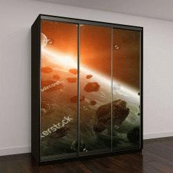 """Шкаф купе с фотопечатью """"Вид планеты Земля из космоса во время столкновения с метеоритом """""""