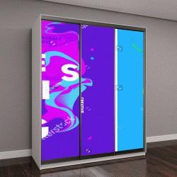 """Шкаф купе с фотопечатью """"розовые волны на синем фоне"""""""
