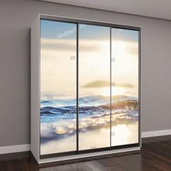 """Шкаф купе с фотопечатью """"Красивые морские волны и небо на закате"""""""