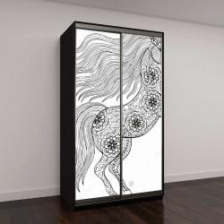 """Шкаф купе с фотопечатью """"Рисованной волшебный единорог для взрослых антистресс раскраски страницы с высокой детализацией, изолированные на белом фоне, иллюстрация в стиле zentangle"""""""
