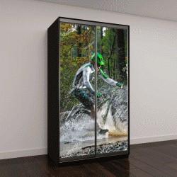 """Шкаф купе с фотопечатью """"Горный велосипедист едет через лесной ручей"""""""