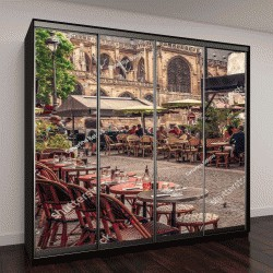 """Шкаф купе с фотопечатью """"Уютная улица со столиками из кафе в Париже, Франция"""""""