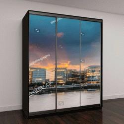 """Шкаф купе с фотопечатью """"Новая Лондонская ратуша на закате, панорамный вид с реки"""""""