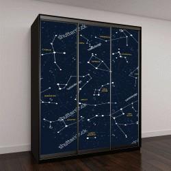 """Шкаф купе с фотопечатью """"Векторная карта звездного неба"""""""