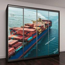 """Шкаф купе с фотопечатью """"Вид с воздуха на грузовой корабль"""""""
