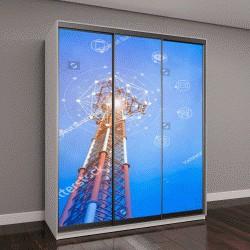 """Шкаф купе с фотопечатью """"Телекоммуникационная башня на фоне голубого неба """""""