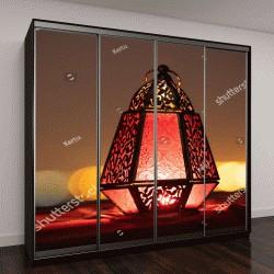 """Шкаф купе с фотопечатью """"Традиционные орнаментальные арабский фонарь с горящей свечой в пустыне """""""