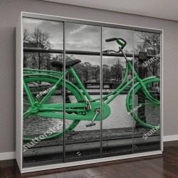 """Шкаф купе с фотопечатью """"Зеленый велосипед на фоне каналов Амстердама"""""""