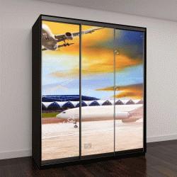 """Шкаф купе с фотопечатью """"самолет летит и приближается к выезду на взлетную полосу аэропорта """""""