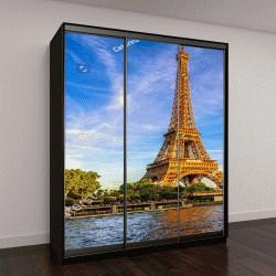 """Шкаф купе с фотопечатью """"Эйфелева башня и река Сена на закате в Париже, Франция"""""""