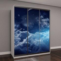"""Шкаф купе с фотопечатью """"Пространство ночного неба с облаками и звездами"""""""