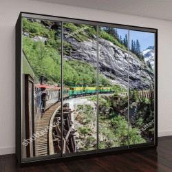 """Шкаф купе с фотопечатью """"путешествие поезда вдоль скал Юкон, в сторону Скагуэй, Аляска"""""""