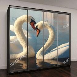 """Шкаф купе с фотопечатью """"Два белых лебедя"""""""