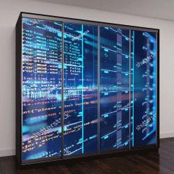 """Шкаф купе с фотопечатью """"серверная комната, 3D иллюстрация """""""
