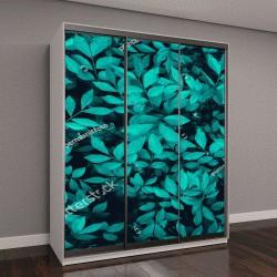 """Шкаф купе с фотопечатью """"текстура листьев в синих тонах"""""""