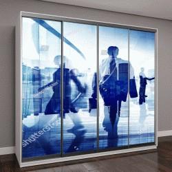 """Шкаф купе с фотопечатью """"Силуэты деловых людей в офисном здании """""""