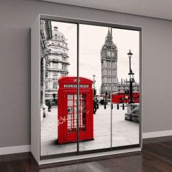 """Шкаф купе с фотопечатью """"Красная телефонная будка в Лондоне"""""""
