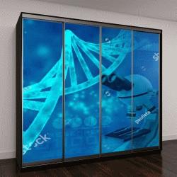 """Шкаф купе с фотопечатью """"цепь ДНК, 3D иллюстрация"""""""