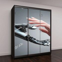 """Шкаф купе с фотопечатью """"Робот дает руку женщине"""""""
