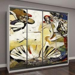 """Шкаф купе с фотопечатью """"Мировой шедевр эпохи Возрождения в авторской обработке в стиле абстракционизма Пикассо"""""""