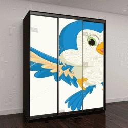 """Шкаф купе с фотопечатью """"счастливый синий птенец"""""""