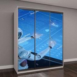 """Шкаф купе с фотопечатью """"3D визуализация человекоподобного робота с цифровым графическим дисплеем """""""