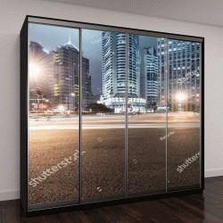 """Шкаф купе с фотопечатью """"свет дороги на фоне современного здания в Шанхае, Китай"""""""