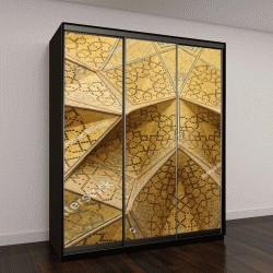 """Шкаф купе с фотопечатью """"орнамент на потолке в теплых желтых тонах """""""