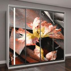 """Шкаф купе с фотопечатью """"Ручная роспись масляной живописи, триптих с цветами, листьями"""""""