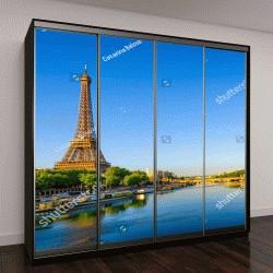 """Шкаф купе с фотопечатью """"Вид на Эйфелеву башню и реку Сену на рассвете в Париже, Франция"""""""