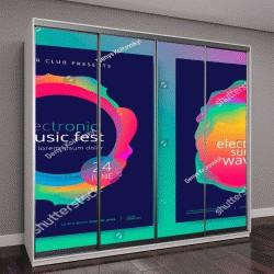 """Шкаф купе с фотопечатью """"Фестиваль электронной музыки и электро лето плакат волны"""""""