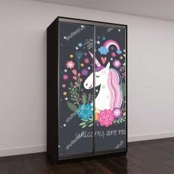 """Шкаф купе с фотопечатью """"Единорог с цветами на темном фоне"""""""