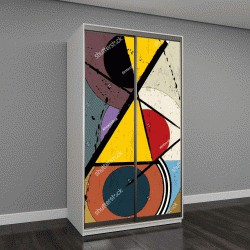 """Шкаф купе с фотопечатью """"абстрактный фон, ретро/Ретро геометрический дизайн, шероховатый"""""""