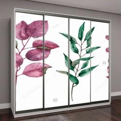 """Шкаф купе с фотопечатью """"акварельная иллюстрация с цветочными элементами"""""""
