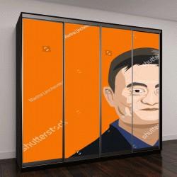 """Шкаф купе с фотопечатью """", 2018: генеральный директор феврале Alibaba Джек Ма векторная иллюстрация портрет"""""""