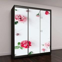 """Шкаф купе с фотопечатью """"розовые бутоны, ветви и листья на белом фоне"""""""