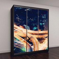 """Шкаф купе с фотопечатью """"Вид с воздуха виадука ночью в Синдзюку, Токио, Япония"""""""