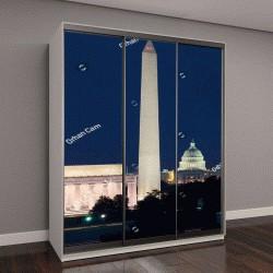 """Шкаф купе с фотопечатью """"Вашингтон, мемориал Линкольна, памятник Вашингтону и здание Капитолия"""""""