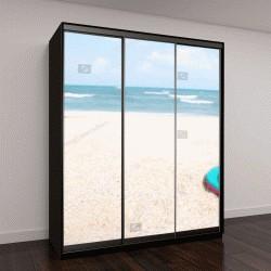 """Шкаф купе с фотопечатью """"тапочки и голубой океан на песчаном пляже"""""""