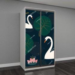 """Шкаф купе с фотопечатью """"белые лебеди, кувшинки и листья на темно-синем фоне"""""""
