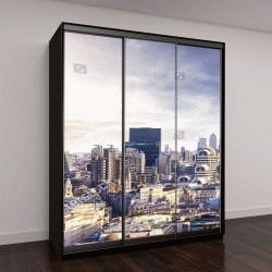 """Шкаф купе с фотопечатью """"Лондон, закат, вид на современный район"""""""