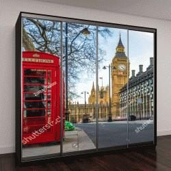 """Шкаф купе с фотопечатью """"Лондон, Англия. Знаменитые красные телефонные будки"""""""