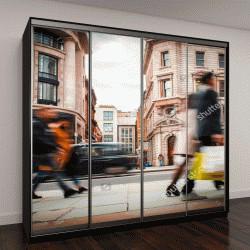 """Шкаф купе с фотопечатью """"Движущиеся покупатели с сумками на Риджент-стрит, Лондон"""""""