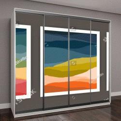 """Шкаф купе с фотопечатью """"Набор вертикальных фоны или шаблоны, карточки с абстрактными волнами или холмы теплые яркие цвета"""""""