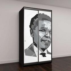 """Шкаф купе с фотопечатью """"портрет Нельсона Мандела """""""