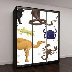 """Шкаф купе с фотопечатью """"Подробная плоским векторный набор различных египетских животных, птиц и насекомых"""""""