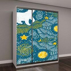"""Шкаф купе с фотопечатью """"картина с белыми медведями, луной, звездами, галактиками"""""""